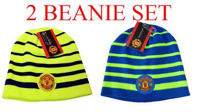 Manchester United Beanie - Manchester United Beanie  Neon Skull Cap Hat New Season set 2