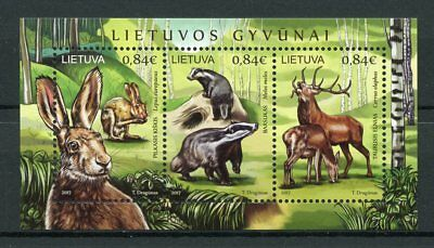 Lithuania 2017 MNH Wild Animals Deer Badgers Hares 3v M/S Fauna Stamps