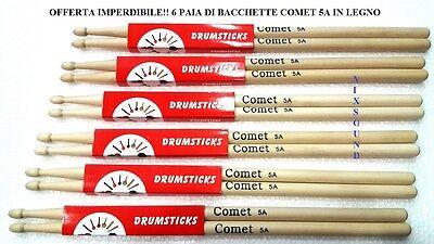 BACCHETTE PER BATTERIA 5A IN LEGNO OFFERTA DI 6 PAIA DI BACCHETTE 5 A COMET