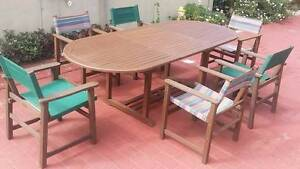 EXTENDABLE Hardwood Outdoor Setting Table & 6 Chairs Coombabah Gold Coast North Preview