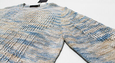 $300 Italy ROBERTO COLLINA Men's Blue-Beige Chunky Ribbed Knit Sweater Large 50