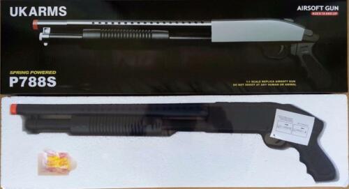 1 Airsoft Gun Ukarms P788B Black Spring Powered Shotgun 6mm 0.12g BB BBs