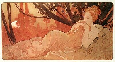Dusk Alphonse Alfons Mucha Nude Reproduction Art Nouveau Deco Poster Print NEW