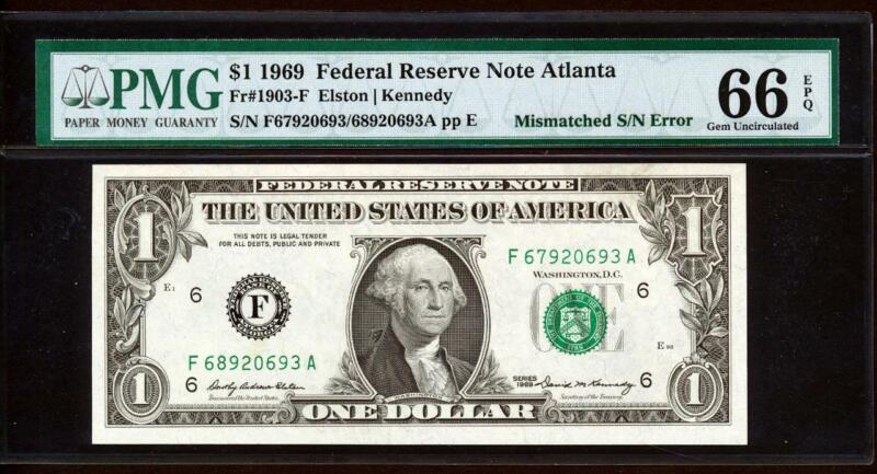 "1969 $1 ATLANTA 67/68 ""MISMATCHED SERIAL NUMBER ERROR"" + PMG 66EPQ GEM NEW UNC"