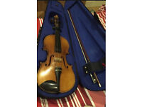Violin with case, bow, resin etc