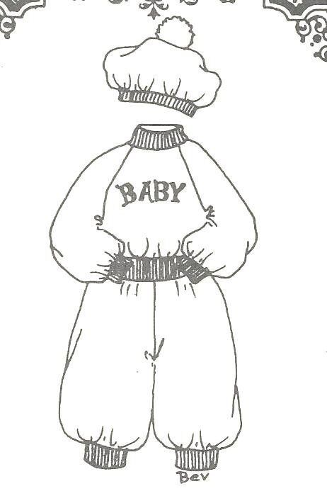 """23 -24""""  BABY re-born  DOLL sewing PATTERN pant shirt hat  396"""