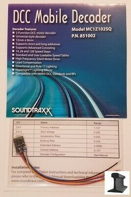 SoundTraxx ~ New 2019 ~ DCC Motor Decoder ~ MC1Z102SQ ~ Z / N Scale ~ 851002