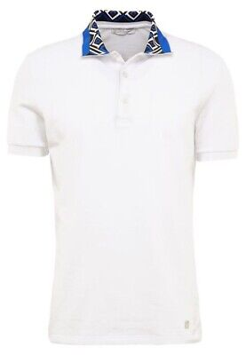 Authentic Versace Collection Printed Collar Pique White Polo Size Large NWT