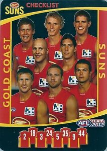 2012 TEAM COACH GOLD COAST SUNS SILVER CHECKLIST CARD