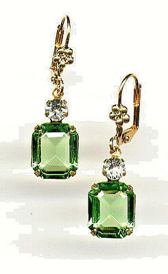 GORGEOUS Earrings with SWAROVSKI PERIDOT emerald-cut crystals 14K Gold gp Levers