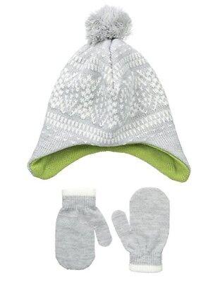NOLAN Toddler Boy's Fritz Fairisle Hat and Mitten Set GRAY 2T-4T New