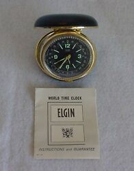 Vintage Elgin World Time Travel Alarm Clock With Box / Instructions WORKS