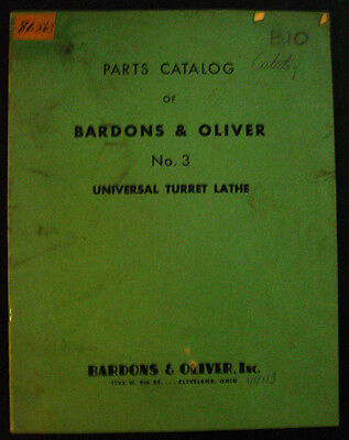 Bardons Oliver No. 3 Universal Turret Lathe Parts List Manual