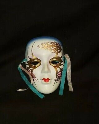 """Porcelain Ceramic Painted Wall Hanging Face Mask 4 1/4"""" x 3"""""""