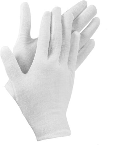 1 Pairs White Cotton Gloves-MEDIUM Size for Coin Jewelry Silver Inspection