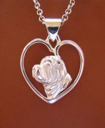 Sterling Silver Shar Pei Head Study On A Heart Frame Pendant