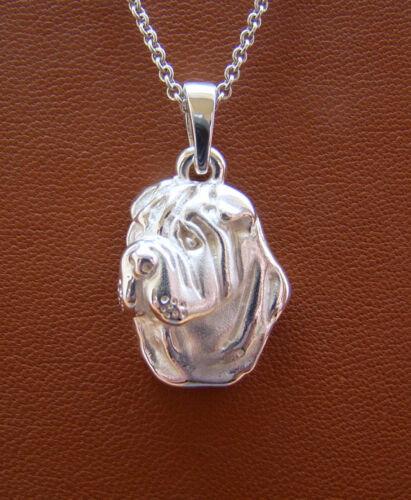 Sterling Silver Shar Pei Head Pendant