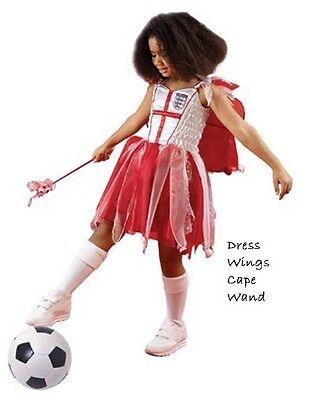 England Fußball Fairy Kostüm Mädchen Weihnachten Kleid Umhang & - England Kostüm Mädchen