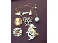 10K Cameo and Silver Brooches