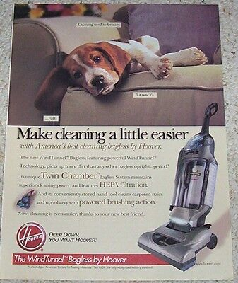 2001 advertising page - Hoover windtunnel vacuum cleaner CUTE DOG print AD