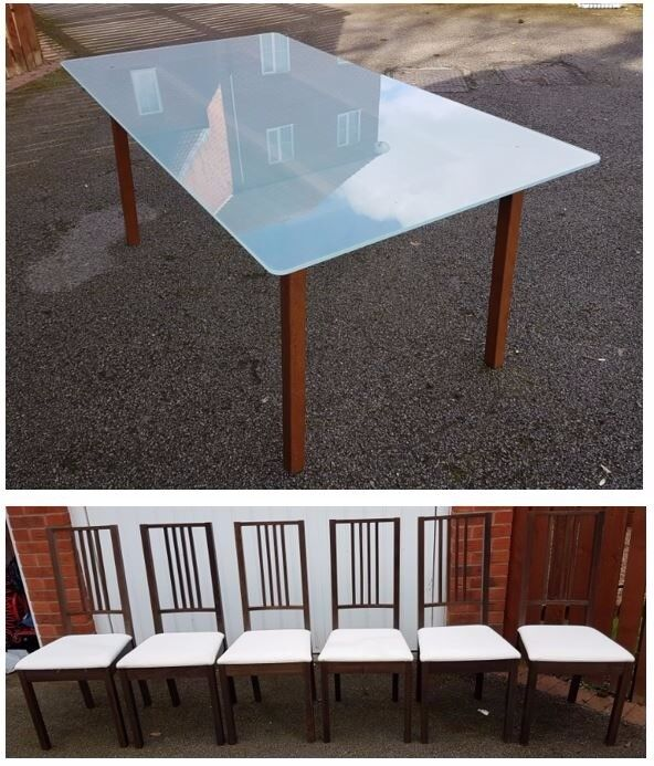 Ikea Frosted Glass & Solid Wood Dining Table & 6 Ikea Borje Chairs FREE DELIVERY 035