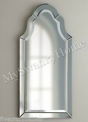 """Tall 44""""  FRAMELESS ARCH Wall Mirror Vanity NEIMAN MARCUS Curved Glass Frame"""
