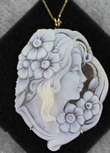 Cameo Necklace Pendant  in 14kt Rolled Gold Setting