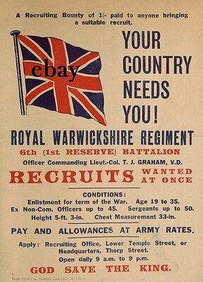 WW1 RECRUITMENT POSTER ROYAL WARWICKSHIRE REGIMENT NEW A4 PRINT