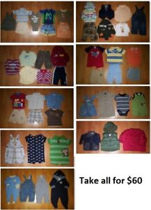 6-12 Mths Baby Boys Clothing Lot 2 (Take 48 Pieces for $60)