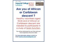 Healthy volunteers aged 18-35 of African or Caribbean descent needed for a study of brain function