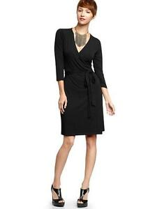 NWOT Gap Solid Black wrap dress SZ XL