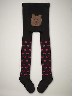 Baby Gap Bear Ribbed Tights True Black Bows Photo Op 2t-3t 2-3 Years