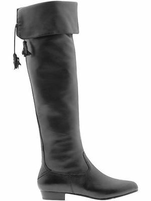 Arturo Chiang Acacia Black Leather Tall Otk Flat Boots Us 6 36.5 6.5 37