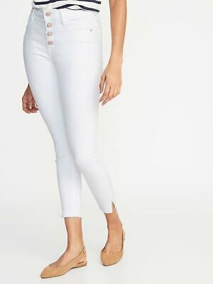 Button Raw Edge - Old Navy NWT High-Rise Button-Fly Rockstar Raw-Edge White Ankle Jeans $44 Sz 8