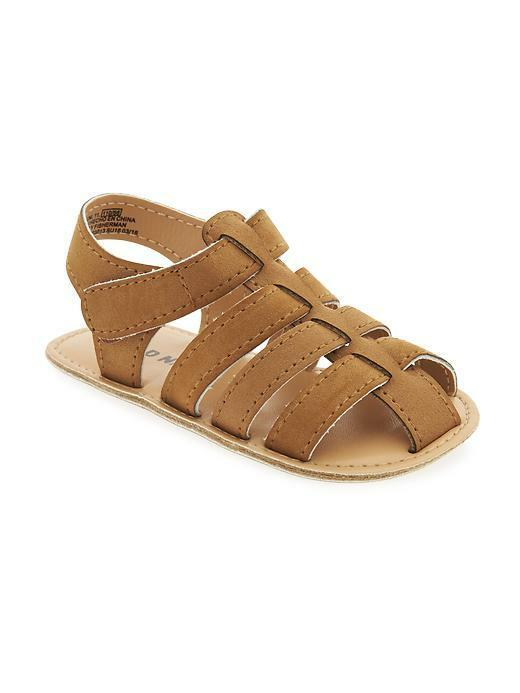 Old Navy Sueded Fisherman Sandals for Baby Boy 0-12 Months Brown Brand New