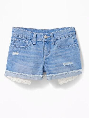 Old Navy Girls Lace-Pocket Denim Cutoffs: Sizes 6, 8, 10 Cornflower Blue NWT $25