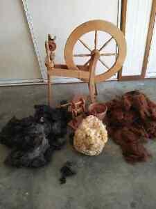 Spinning wheel, fleece and books Wondunna Fraser Coast Preview