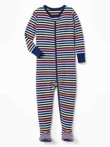 NWT OLD NAVY GIRLS PAJAMAS  Stripes rainbow footed sleeper   u pick size