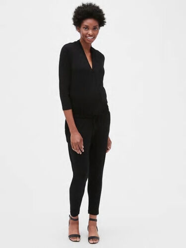 Gap Maternity Wrap Jumpsuit in Black ~ NWT ~ Size Large L