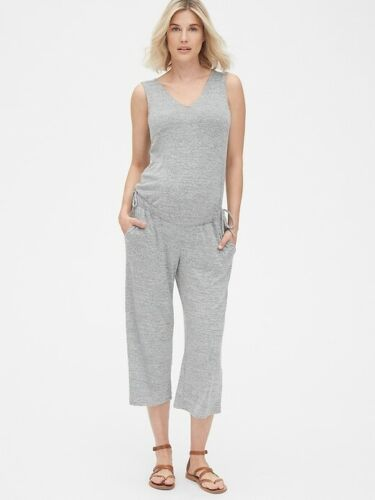 NWT Gap Maternity Softspun Sleeveless Tie-Waist Jumpsuit light grey marle, XL