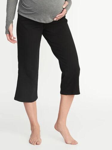 Old Navy Maternity Rollover Waist Wide Leg Yoga Crops Black - #39730-9