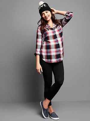New Gap Maternity Pure Body MEDIUM full panel capri BLACK 743232