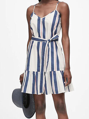 NWT Banana Republic New $129.00 Women Stripe Poplin Mini Dress Size 8, 10P, 12P
