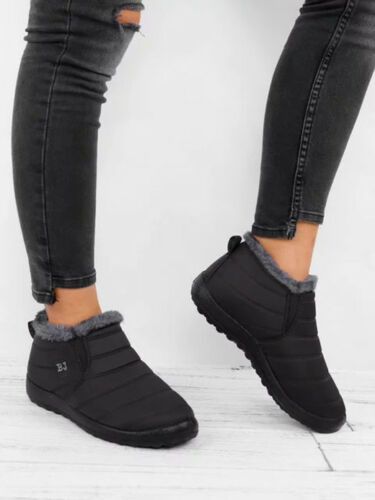 HOT Women's Winter Warm Cotton Fur-lined Slip On Ankle Snow Boots Sneakers Shoes