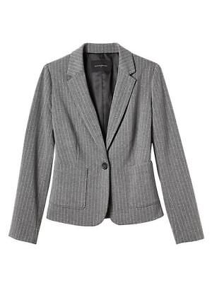 (NWT Womens Banana Republic Fully Lined One-Button Grey Pinstriped Blazer $89 *F9)