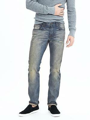 Banana Republic Japan Kaihara Selvedge Mens Tinted Slim Straight Jeans 33x32 NEW Button Fly Tinted Jeans
