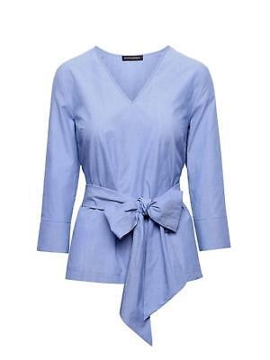 - nwt 2018 banana republic cotton poplin tie waist blue top shirt blouse S 348947