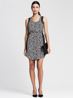 NEW BANANA REPUBLIC Womens Chiffon Cheetah Black White Shift Dress 8 M 10 $130