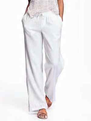 Old Navy Women's White Wide-Leg Linen Pants Size L Tall