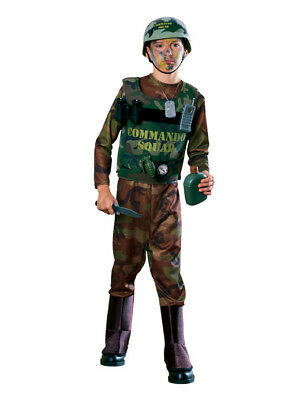 U.S. ARMY COMMANDO w/ACCESSORIES 10 PC. BOY'S HALLOWEEN COSTUME SIZE LARGE 12-14 - Army Costume Accessories